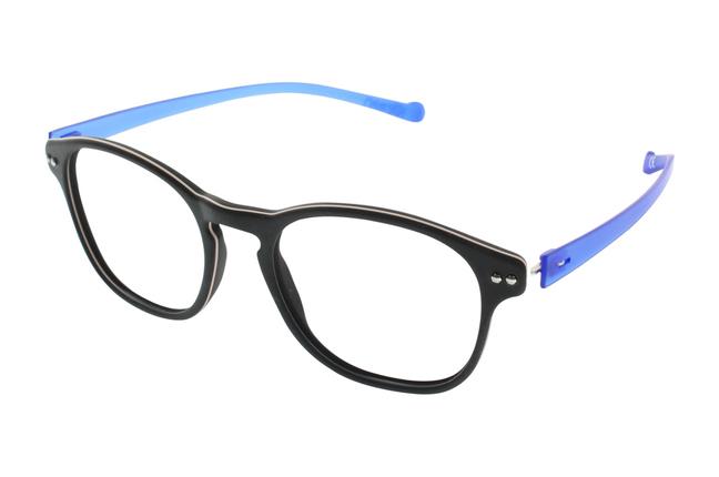 Gli occhiali iGreen sono facilmente personalizzabili: questo modello ha il frontale nero e le aste blu