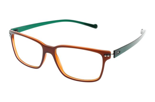 Gli occhiali iGreen sono facilmente personalizzabili: questo modello ha il frontale arancione e le aste verdi