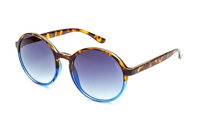 """Il modello """"NADINE"""" degli occhiali Saraghina, nella versione """"AVANA/BLU - LENTE SFUMATA GRIGIA"""""""