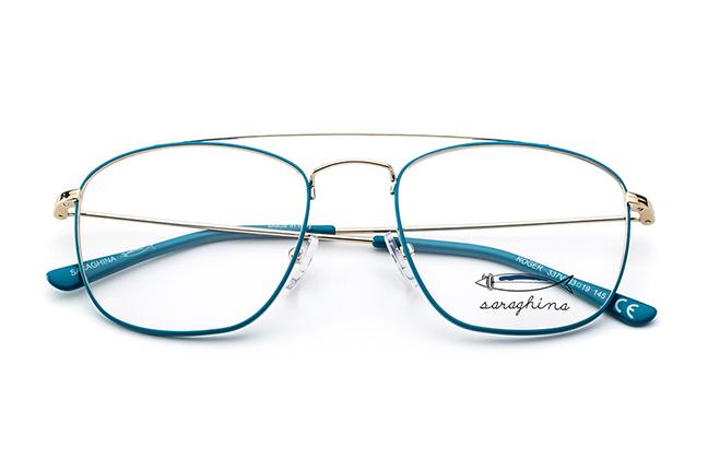 """Il modello """"ROGER"""" degli occhiali Saraghina, nella versione """"ORO/PETROLIO"""""""