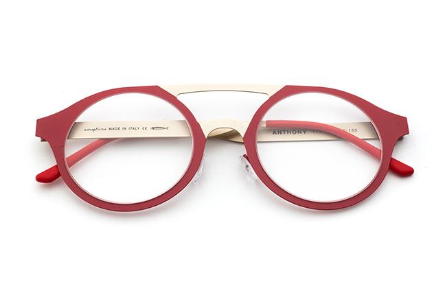 """Il modello """"ANTHONY"""" degli occhiali Saraghina, nella versione """"ORO/ROSSO"""""""