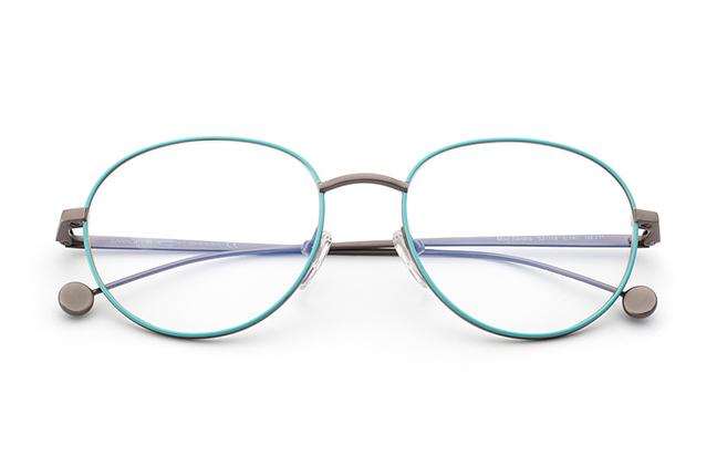 """Il modello """"SANDRA"""" degli occhiali Saraghina, nella versione """"GRIGIO/TIFFANY"""""""