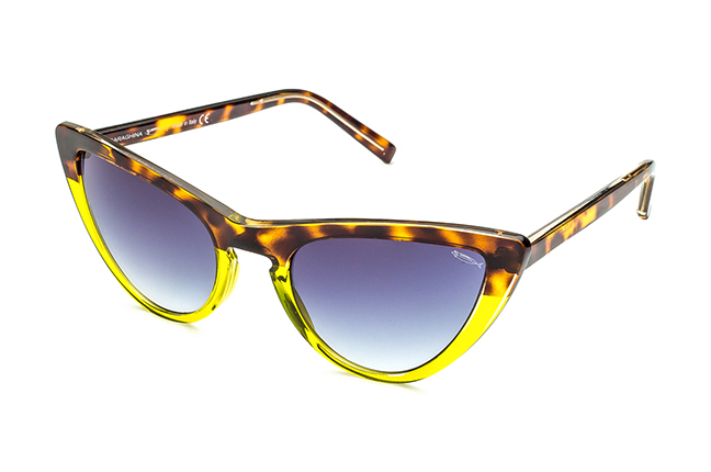 """Il modello """"MARA"""" degli occhiali Saraghina, nella versione """"AVANA/VERDE - LENTE SFUMATA GRIGIA"""""""