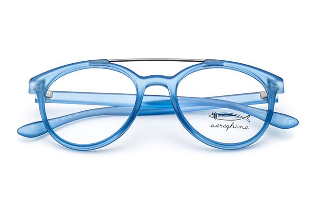 """Il modello """"GERRY"""" degli occhiali Saraghina, nella versione """"BLU CRISTALLO"""""""
