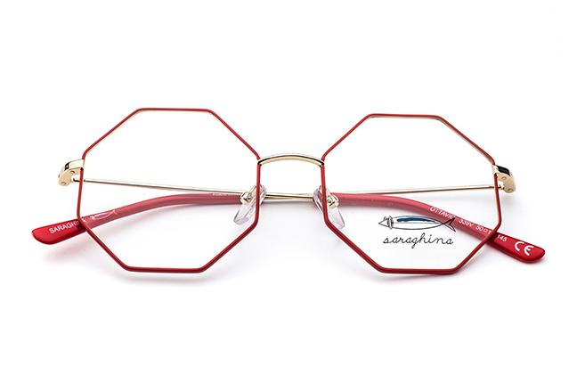 """Il modello """"OTTAVIO"""" degli occhiali Saraghina, nella versione """"ORO/ROSSO"""""""