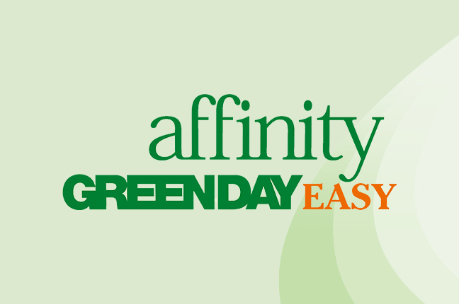 """Il logo delle lenti a contatto giornaliere """"Affinity Greenday Easy"""""""