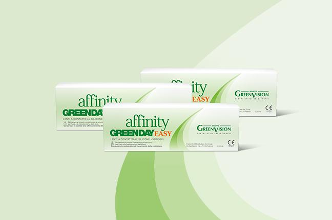 """Tre confezioni delle lenti a contatto giornaliere """"Affinity Greenday Easy""""; prodotte da GreenVision, sono realizzate in silicone hydrogel"""