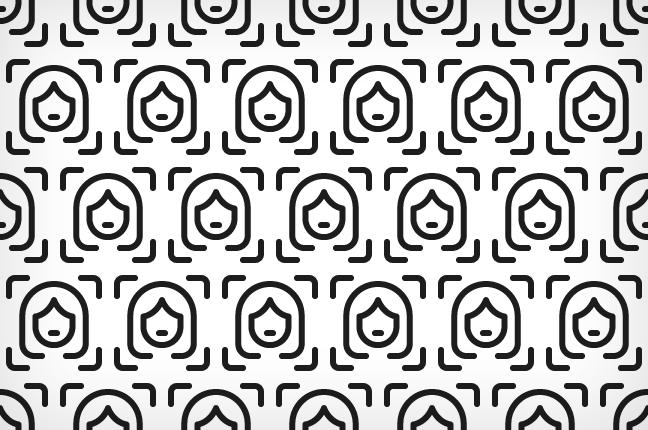 """Un'icona ripetuta – che mostra un viso """"catturato"""" dalla fotocamera di uno smartphone – diventa un pattern grafico"""