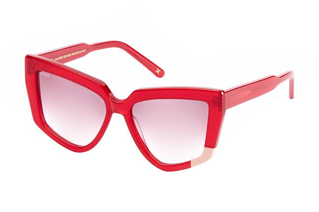 """Il modello """"GAIA"""" degli occhiali da sole JPlus, nella variante colore """"Rosso"""""""