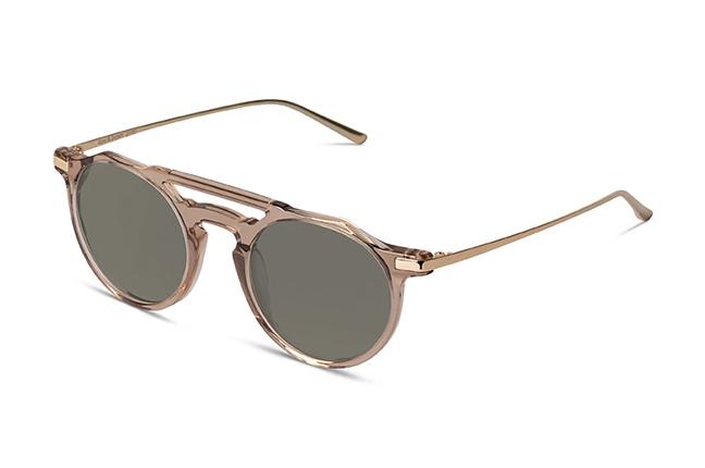 """Il modello """"TOKYO II"""" degli occhiali Ross and Brown, nella versione """"Champagne Shiny Gold / Classic Green"""""""
