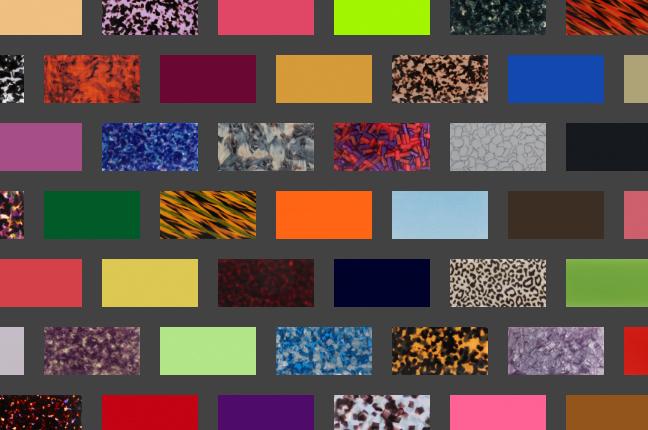 Il configuratore online degli occhiali O-Six Custom permette di scegliere fra +550 colori per il design del frontale; qui un collage delle nuance selezionabili
