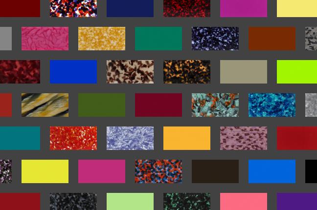 Il configuratore online degli occhiali O-Six Custom permette di scegliere fra +550 colori per il design del frontale; qui un altro collage delle nuance selezionabili