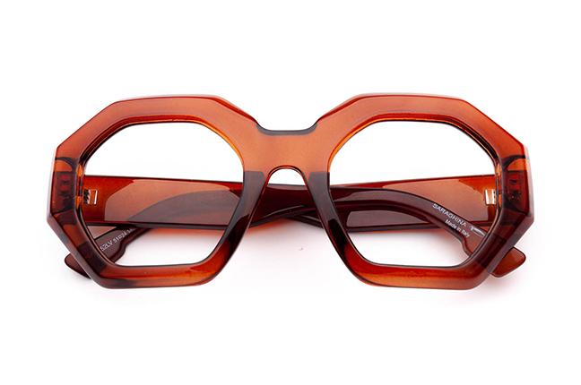 """Il modello """"PINA"""" degli occhiali da vista Saraghina, nella versione """"COGNAC CRISTALLO LUCIDO"""""""